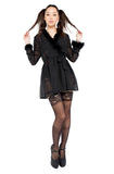 Black Little Jezebel Robe with Faux Marabou Feather Trim