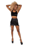 Velvet Crush 2 Side Lace Up Skirt - Black