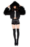 Dark Faux Fur Hooded Jacket