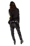 Black Fancy Drawstring Sequin Pants