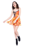 Burnin Up Flame Printed Mesh Skater Dress