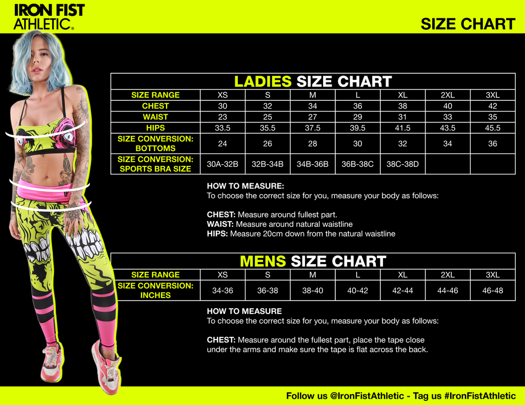 Ladies Athletic Size Chart