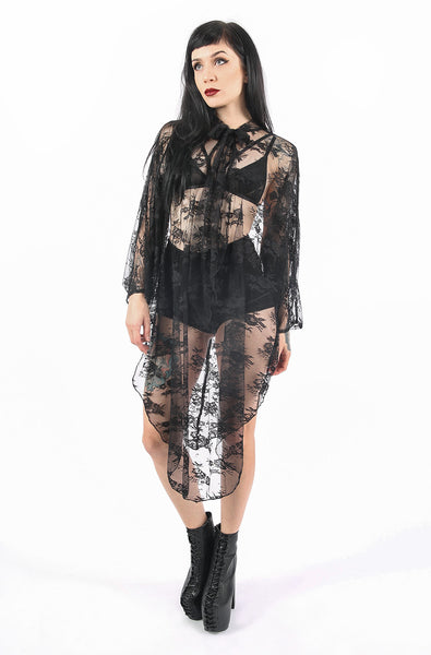 Deathwish Batwing Dress (Black Lace)
