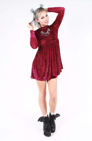 Cave Creeps Babydoll Dress - Burgundy
