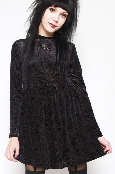 Cave Creeps Babydoll Dress (Black)