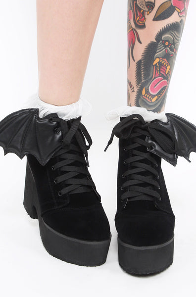 Bat Wing Boot - Black Velvet