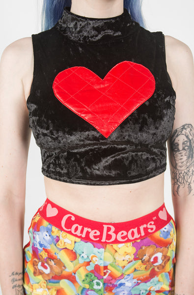 Heart Crop Tank (Black)