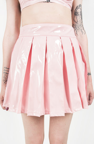 Vinyl Classic Pleated Skirt (Pink)