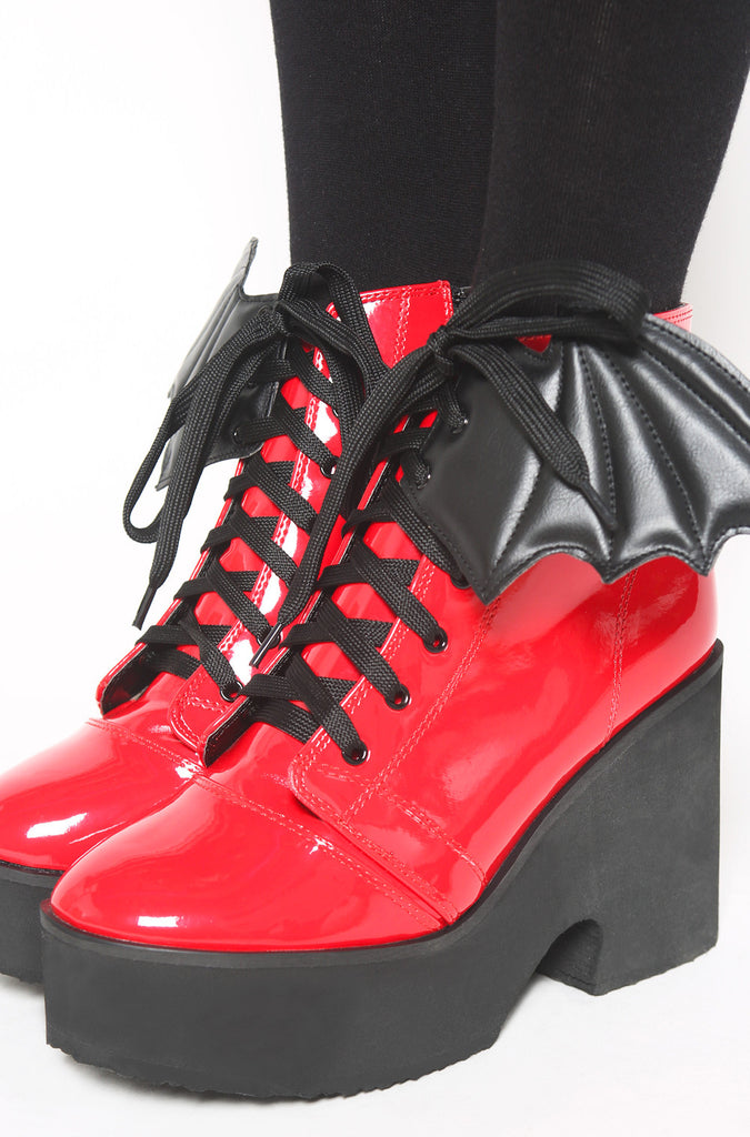 Iron Fist Clothing UK 2017 Spring Shoes Bat Royalty Bat Wing Patent Boots Red 1