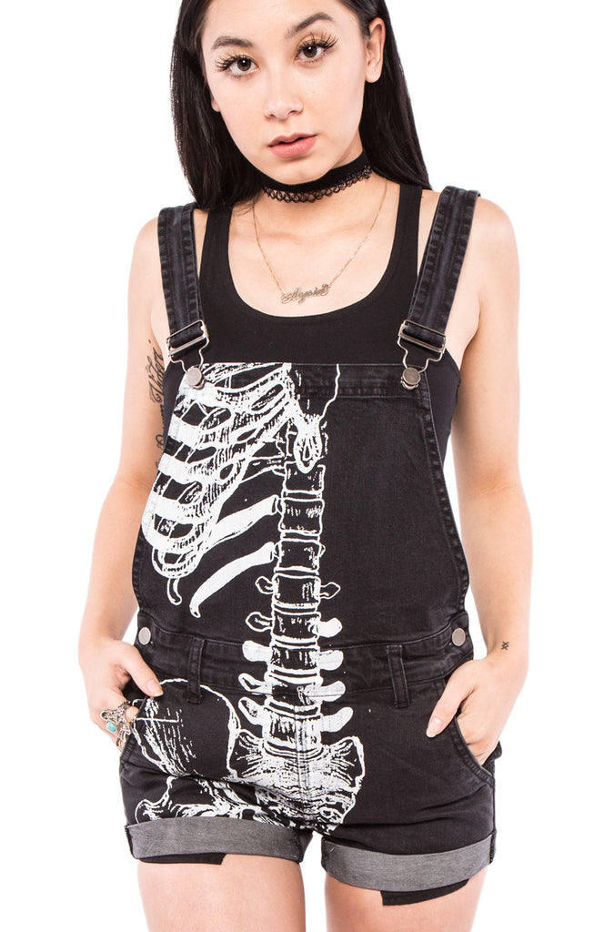 iron fist clothing ladies denim wishbone overalls black skeleton UK 01