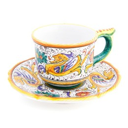 Raffaellesco Espresso, Curved, cup, biordi, dishes, breakfast, Italian ceramics, Maiolica