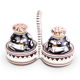 Siena Salt & Pepper Set, Biordi dishes, Italian Ceramics, Italian Dinnerware, Italian Pottery, Deruta, Majolica