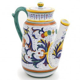 Ricco Deruta Coffee Pot, Italian Ceramics, Biordi dishes, Majolica Pottery