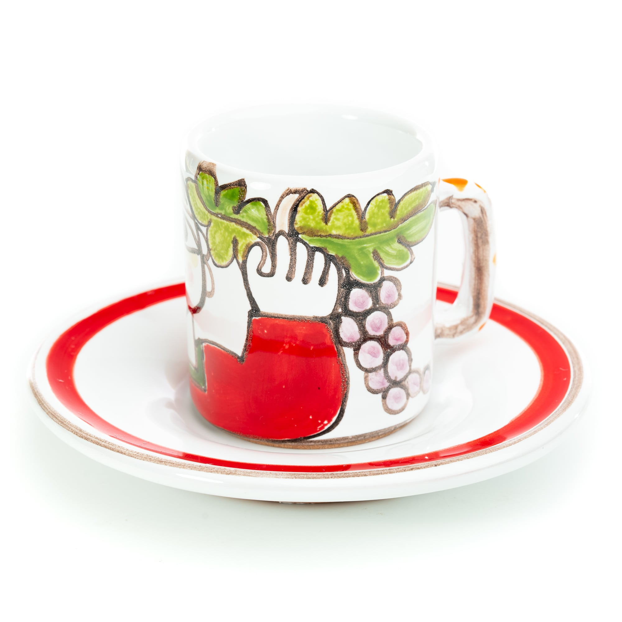 Folk Man with Grapes Espresso Cup and Saucer
