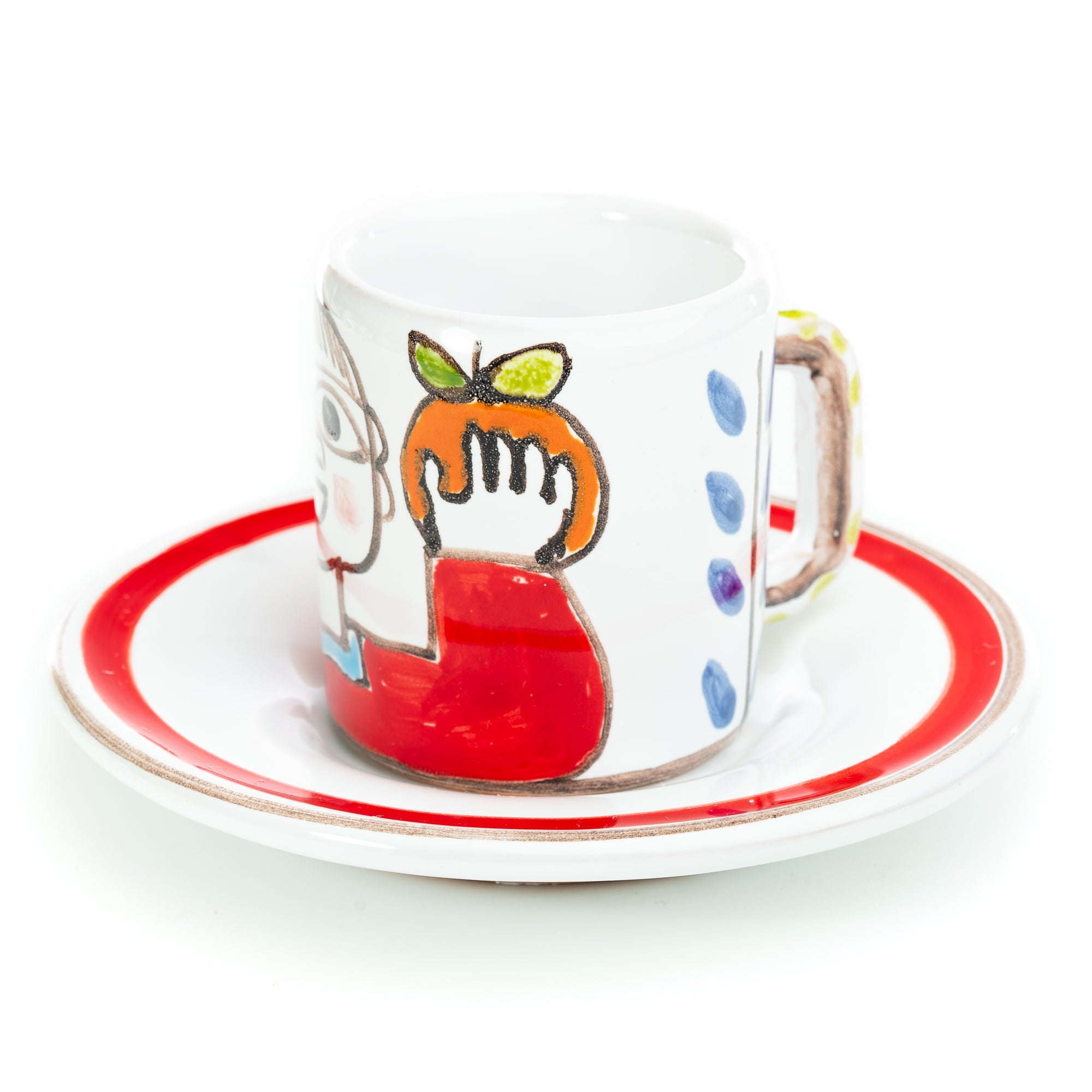 Folk Man with Orange Espresso Cup and Saucer