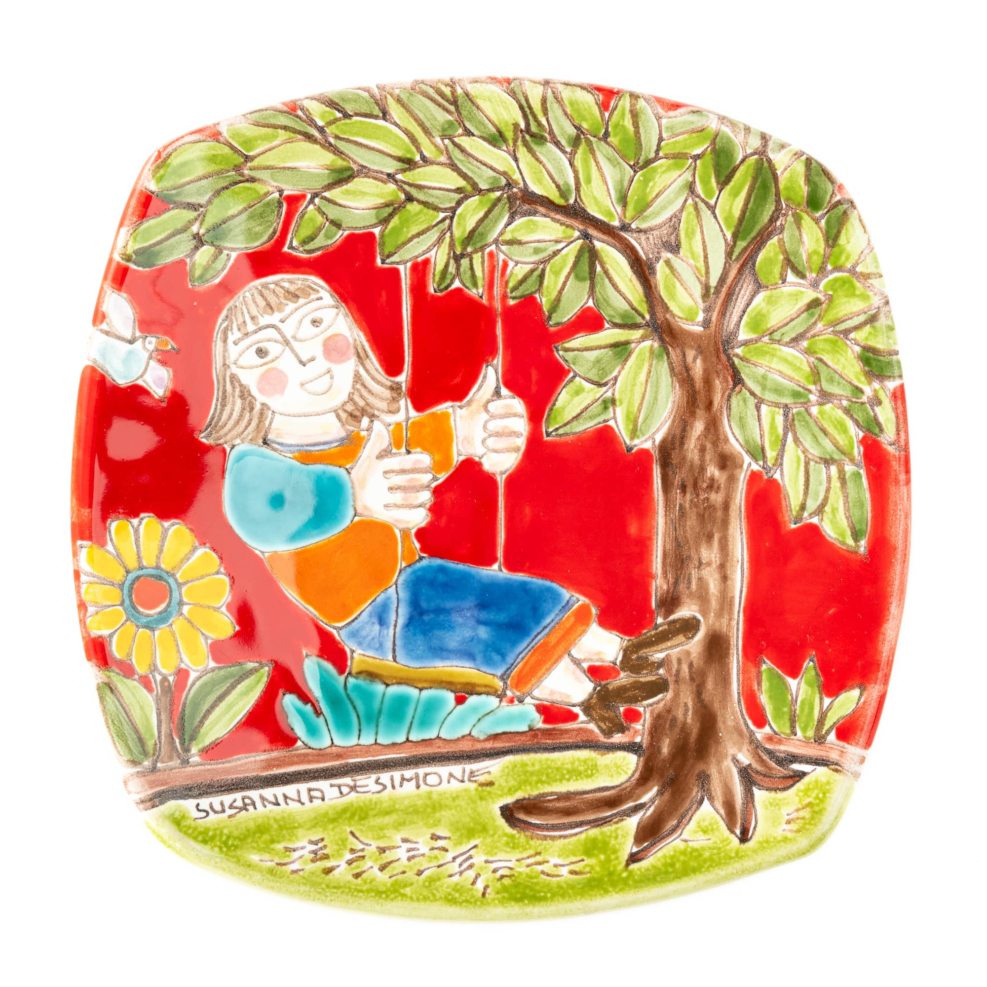 Girl Swinging Rounded Square Appetizer Plate