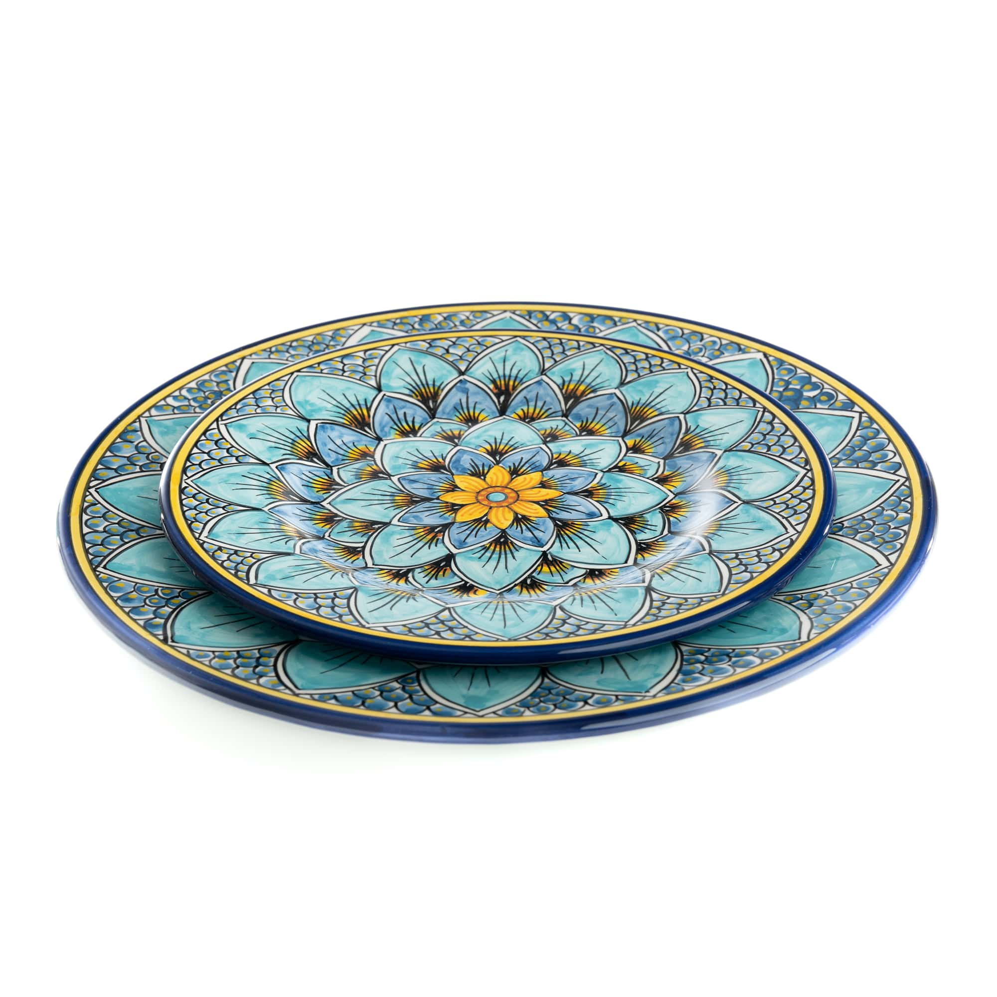 Geribi Salad Plate (PG09) Blues Peacock Design