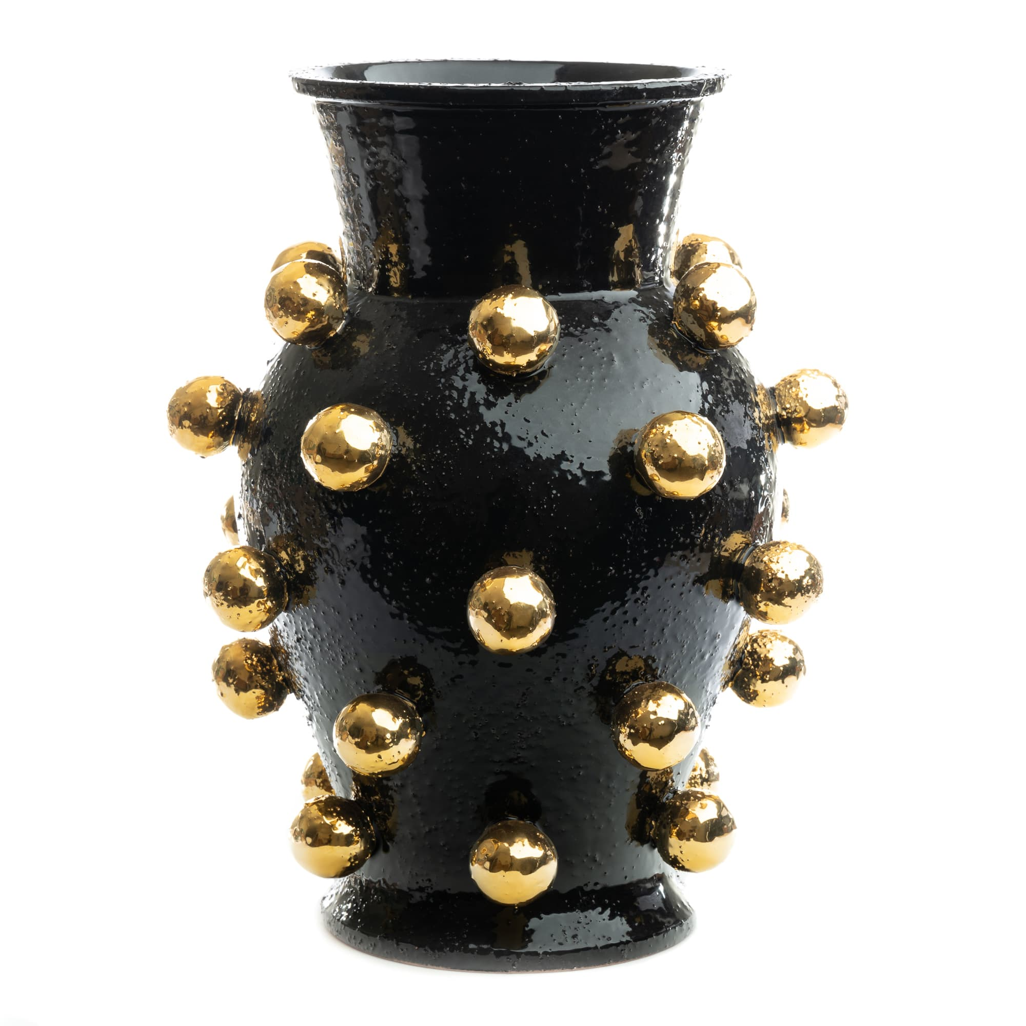 ND Dolfi Black Tall Vase with 24 Karate Gold Spheres