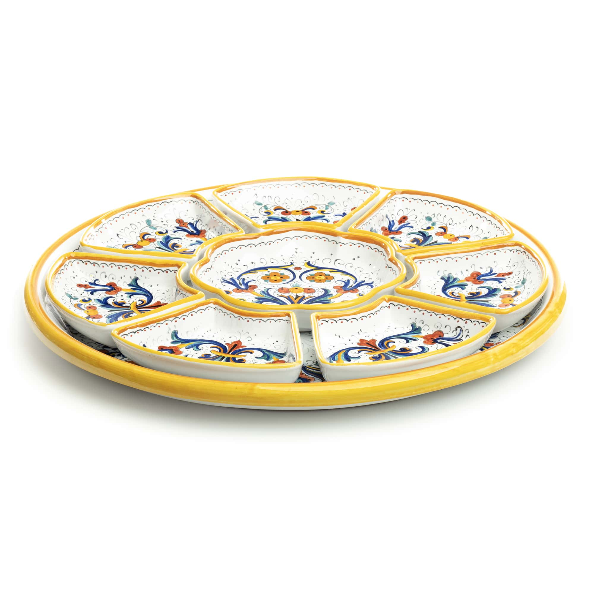 Ricco Deruta Appetizer 8pc Tray Set