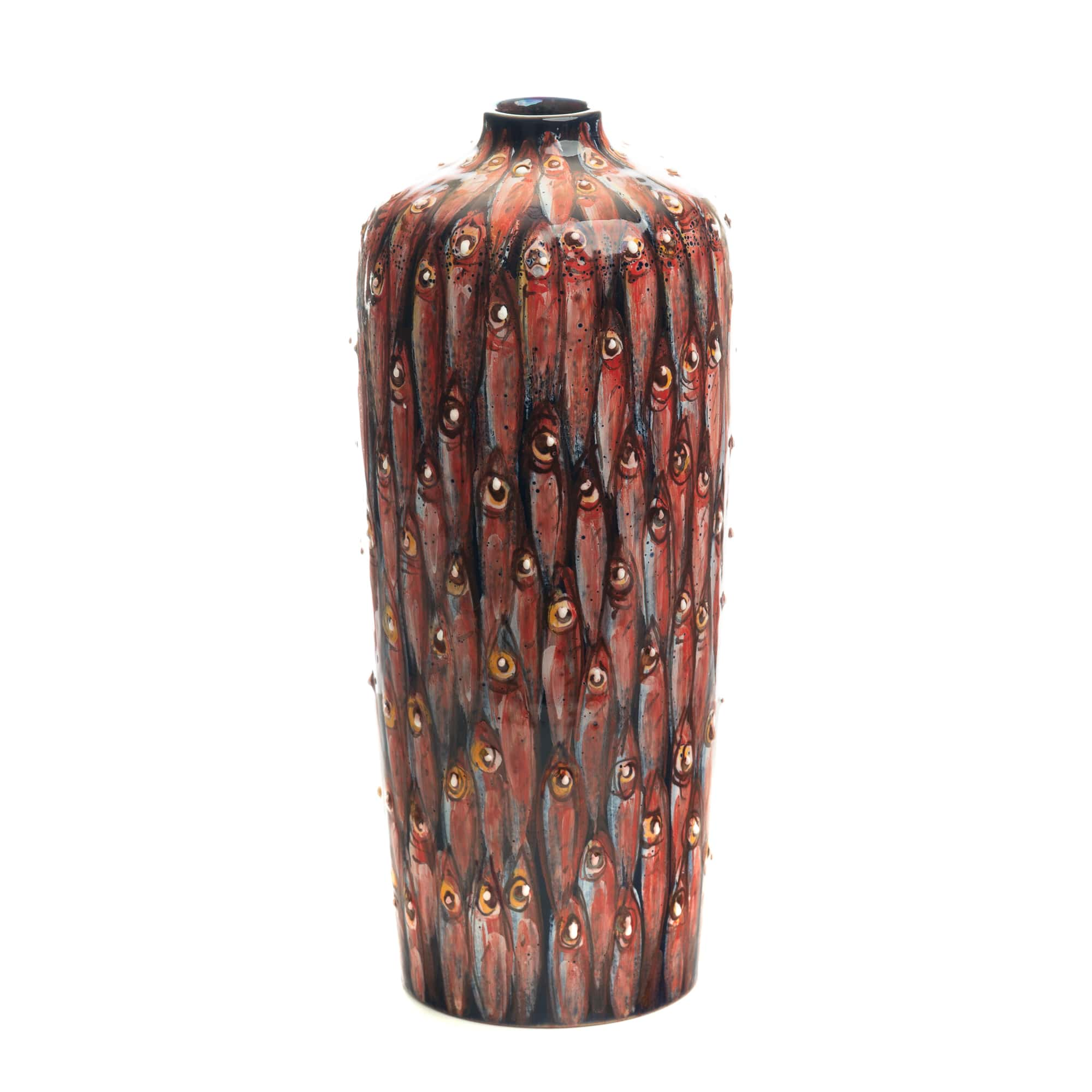 Vignoli Cylindrical Vase Red Black Anchovies Vertical