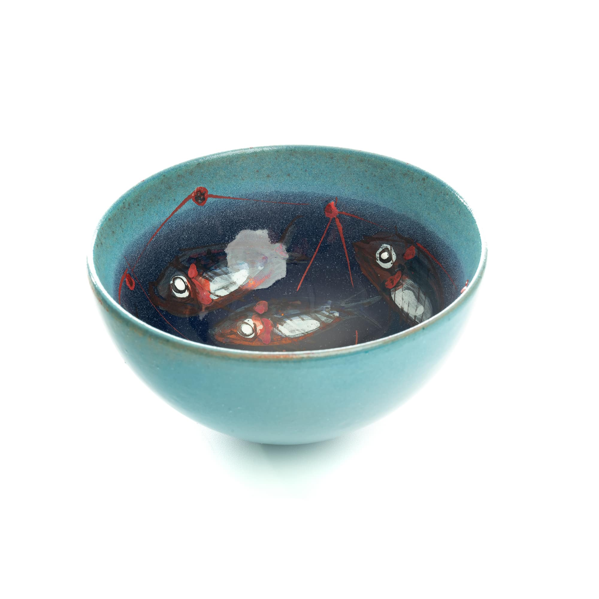 Vignoli Small Bowl with Painted Fish Design 13