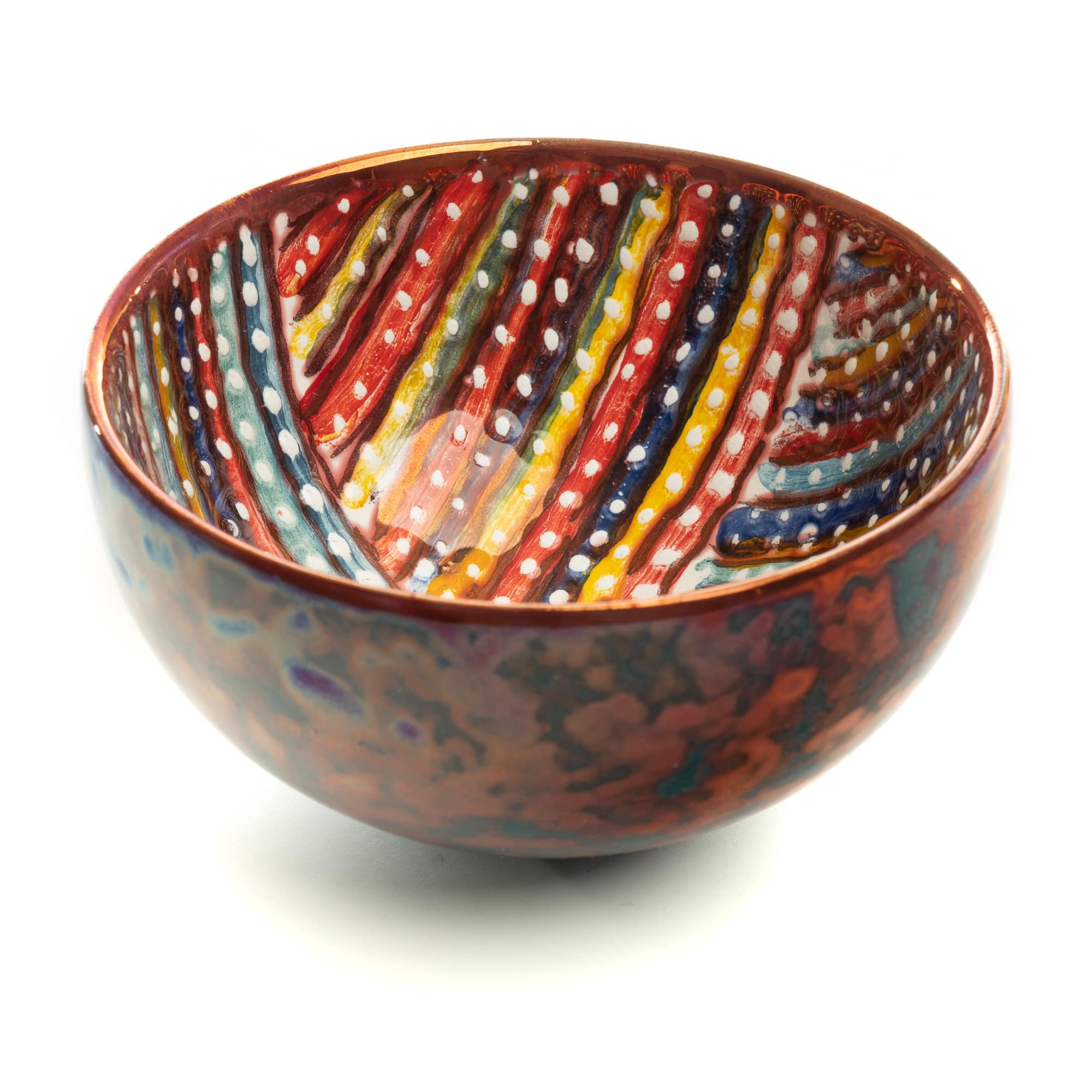 Vignoli Small Bowl Multicolor Teal Geometric Stripes