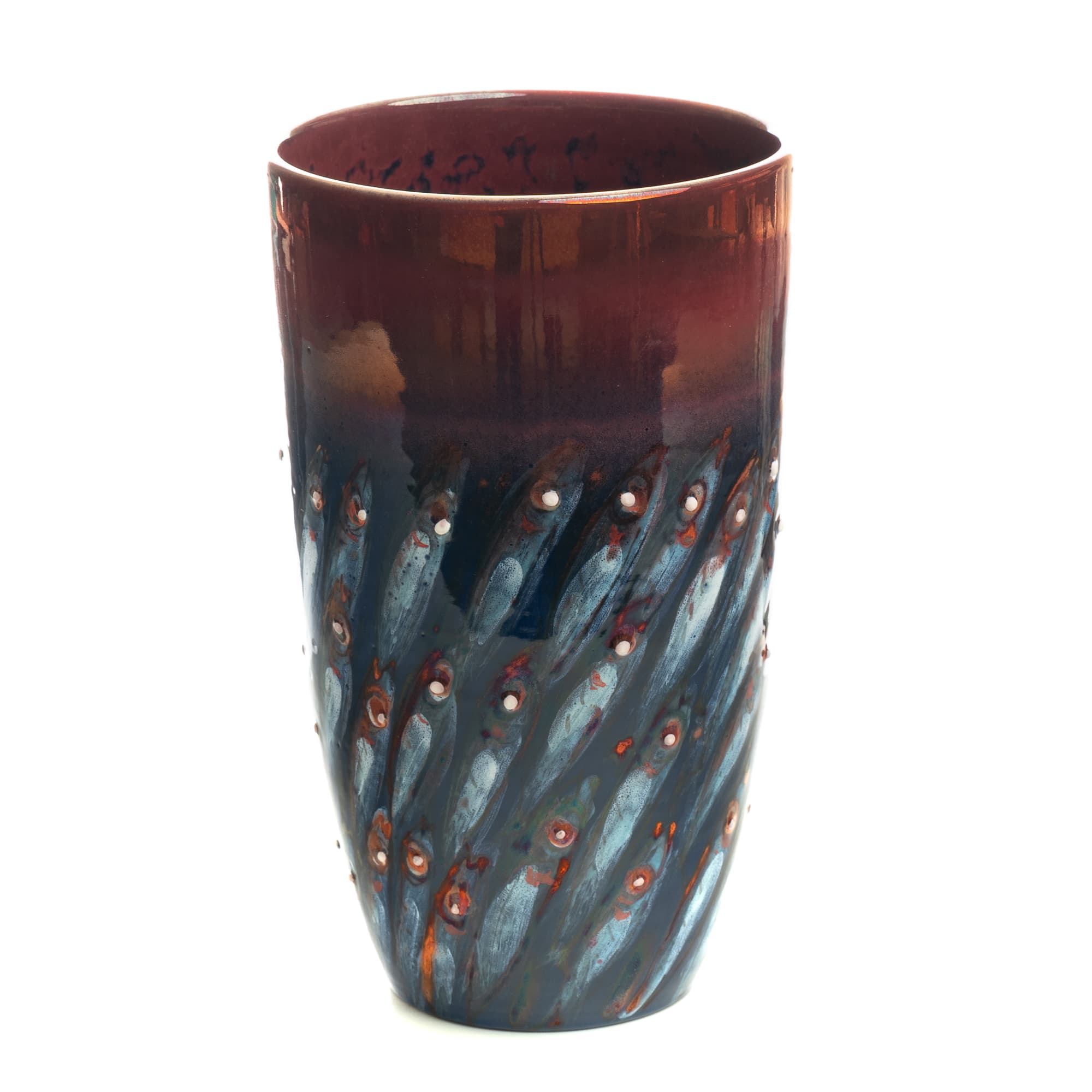 Vignoli Vase Copper Navy Anchovies Diagonal Design