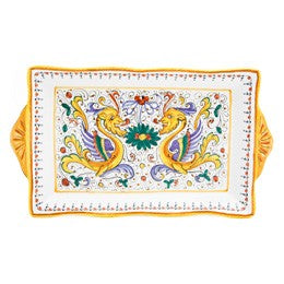 Raffaellesco Rectangular Tray Large, Biordi Dishes, Deruta pottery, Italian Dinnerwear