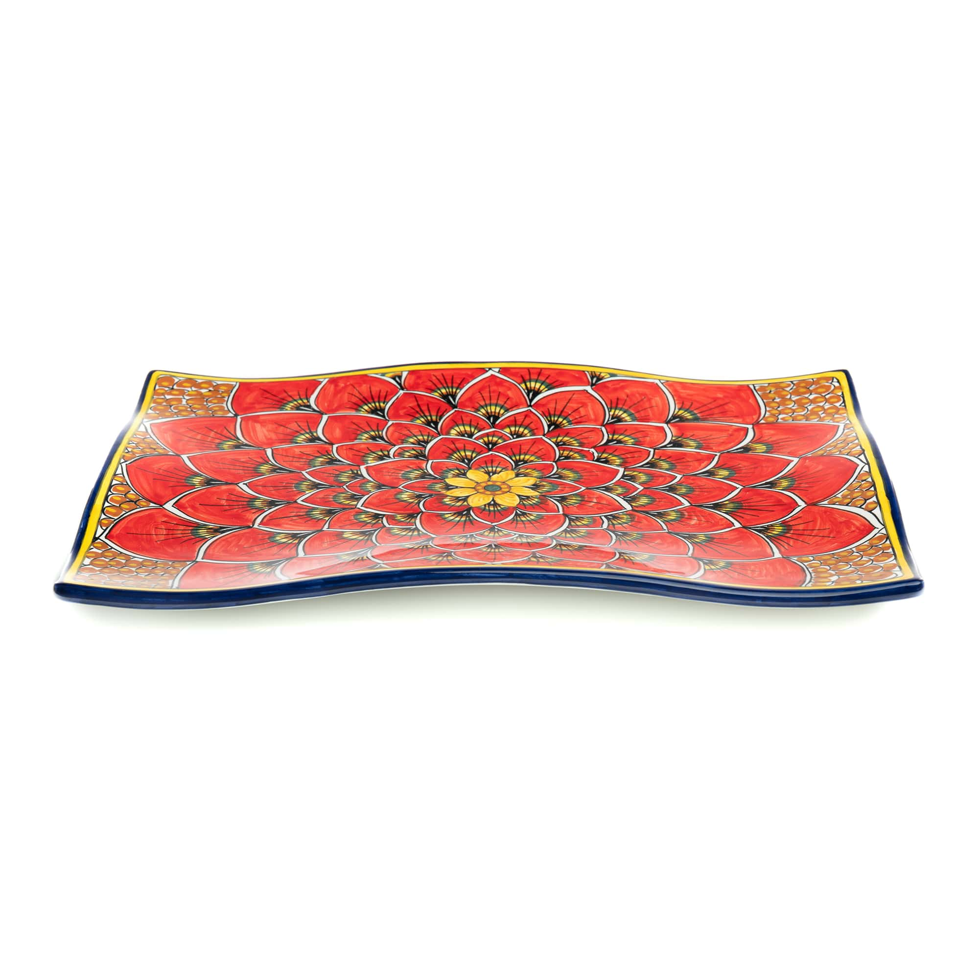 Geribi Wavy Platter (PG04) Red Peacock Design