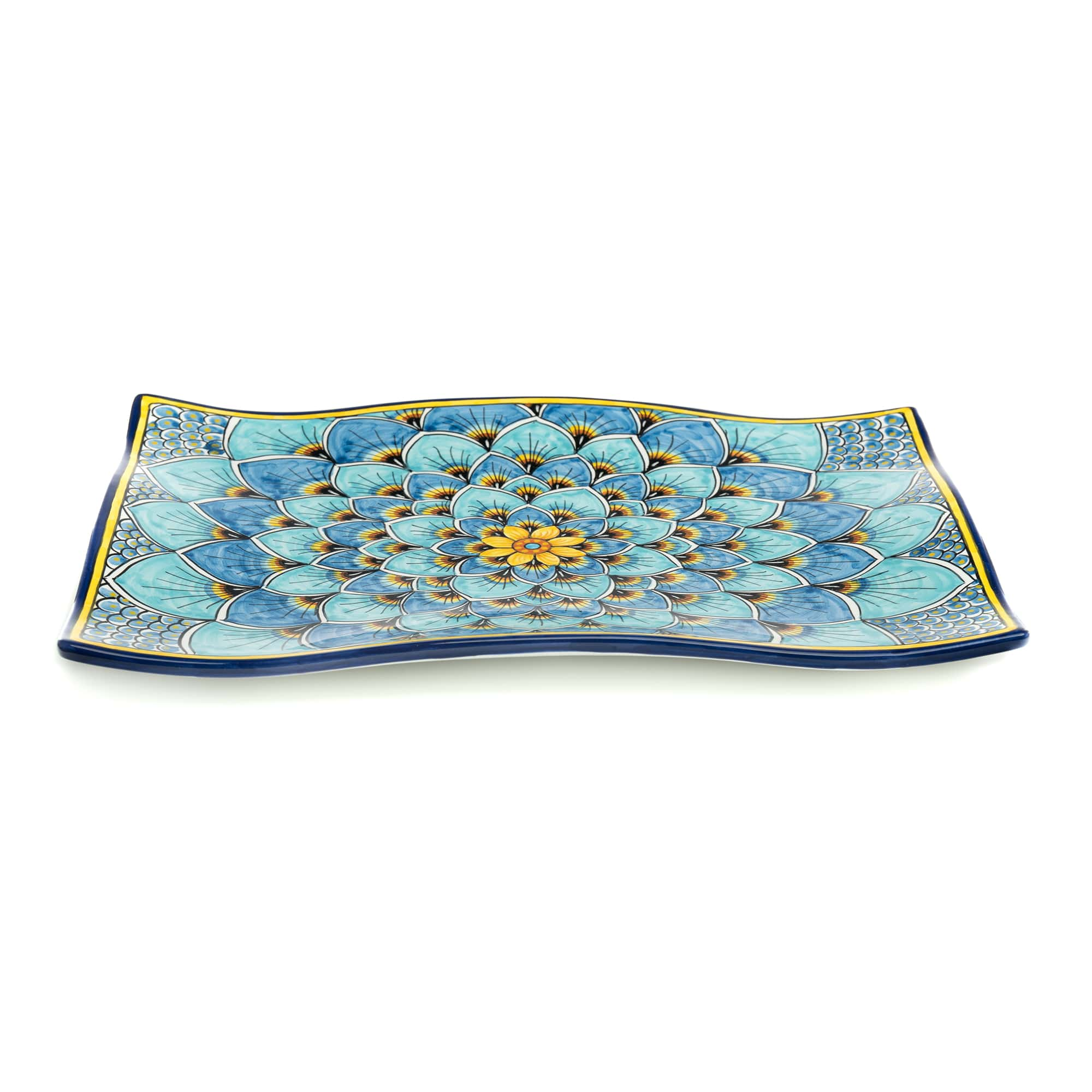 Geribi Wavy Platter (PG09) Blues Peacock Design