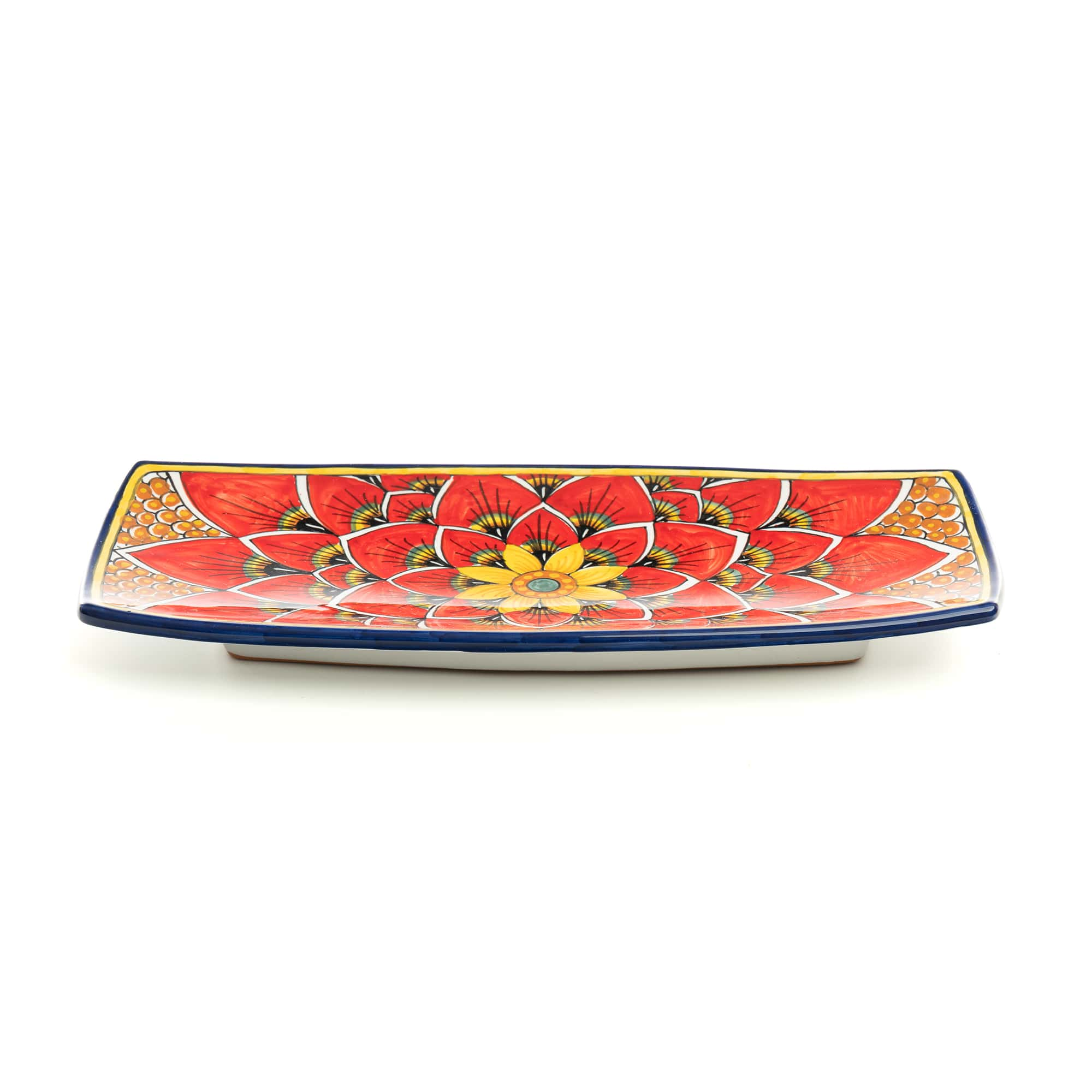Rectangular Rounded Tray PG04 in Red Peacock Design