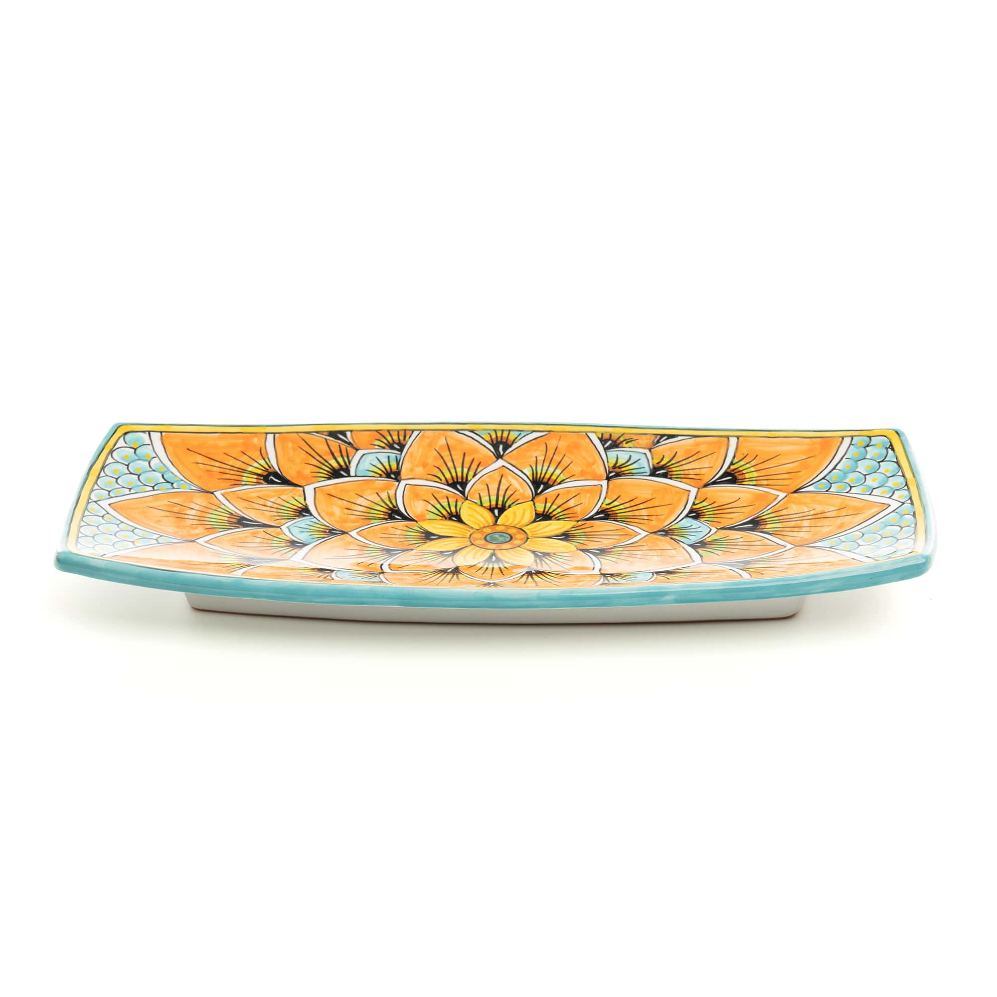 Rectangular Rounded Tray (PG06) in Orange and Blue Peacock Design