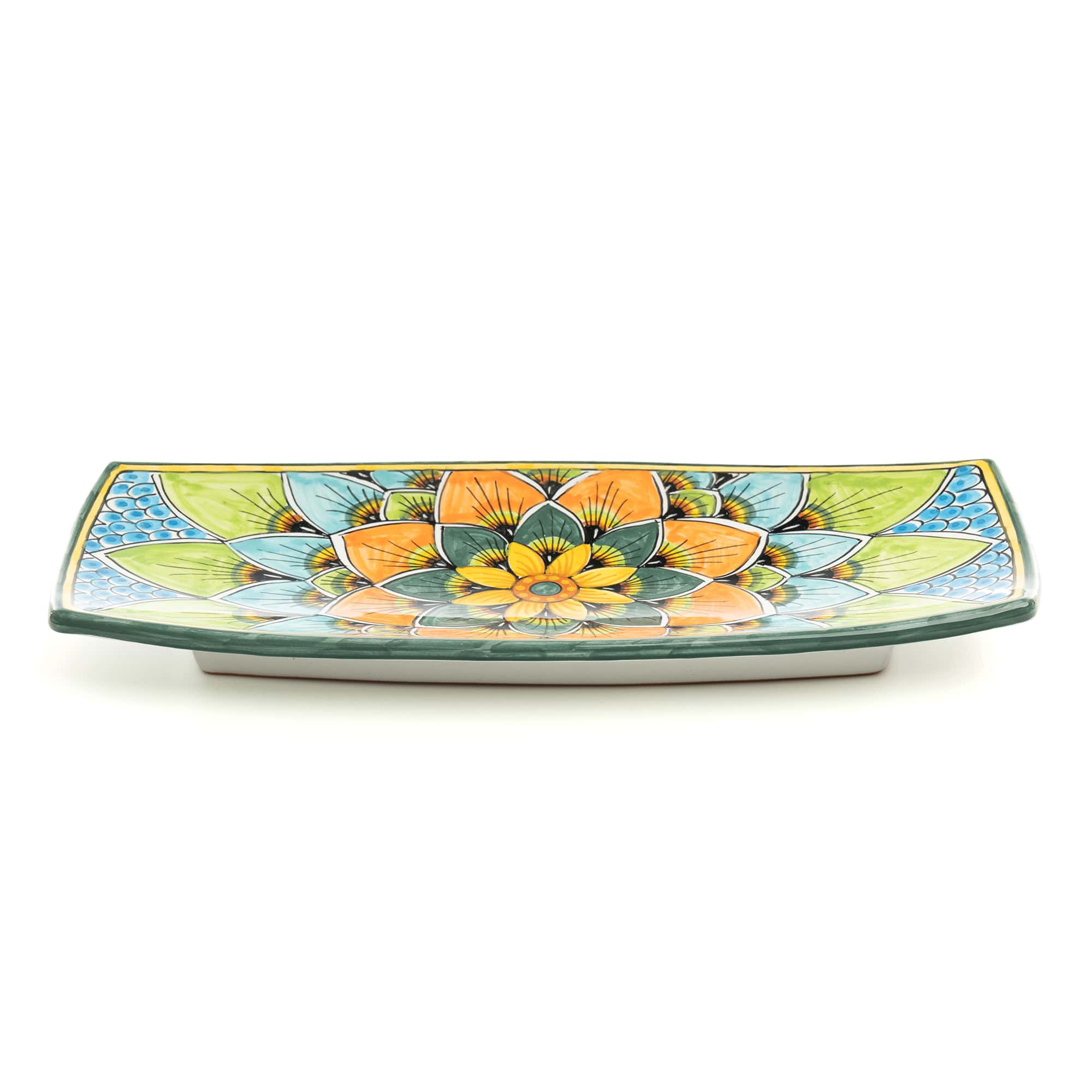 Rectangular Rounded Tray (PG07) in Blue,Orange and Green Peakcock Design