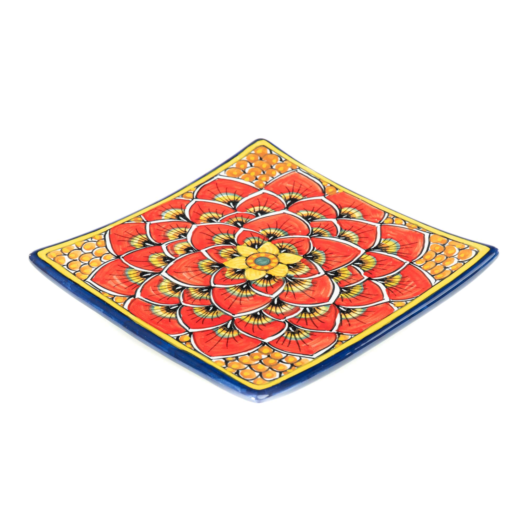 Geribi Square Sushi Plate (PG04) Red Peacock Design