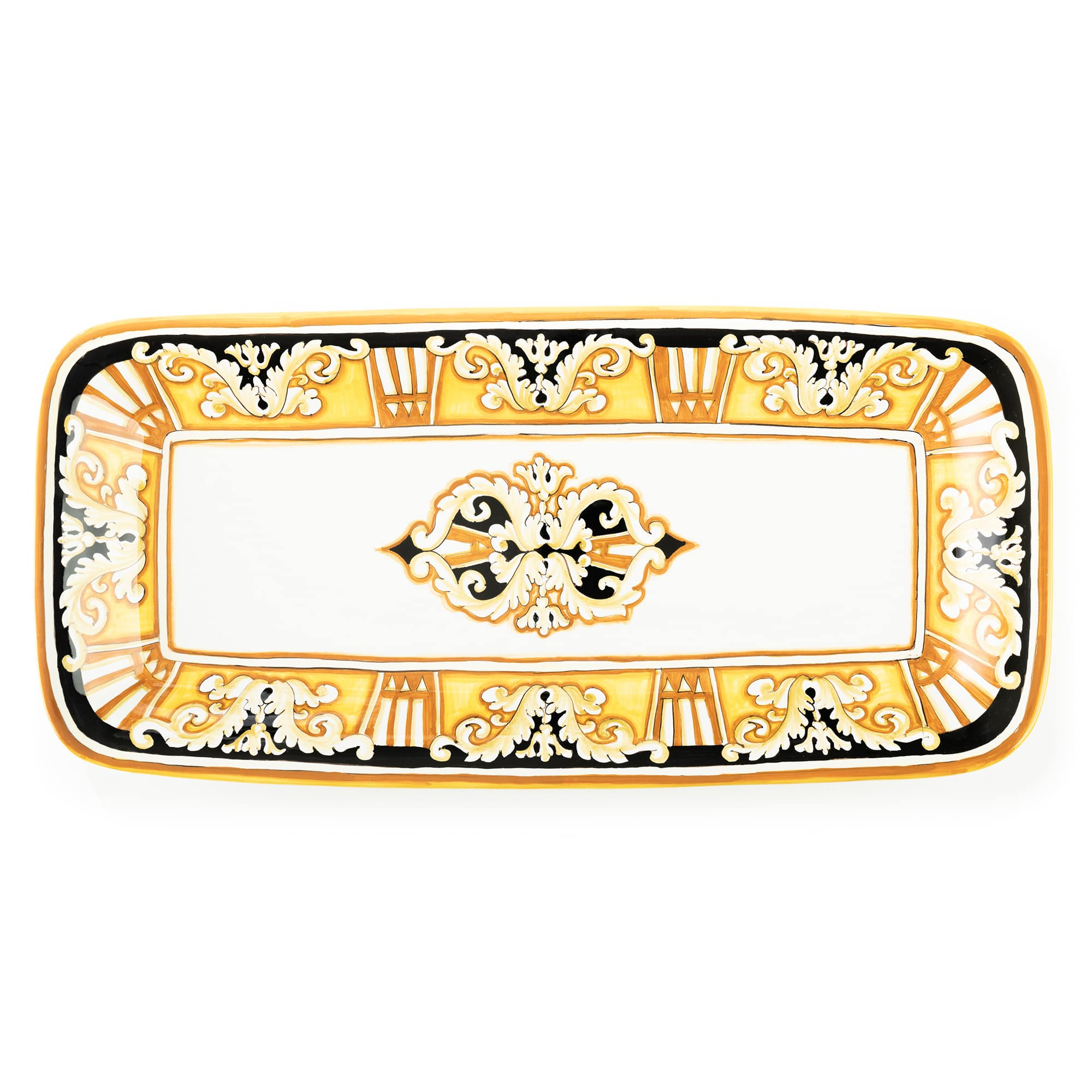 Pia Large Nero e Oro Rectangular Platter