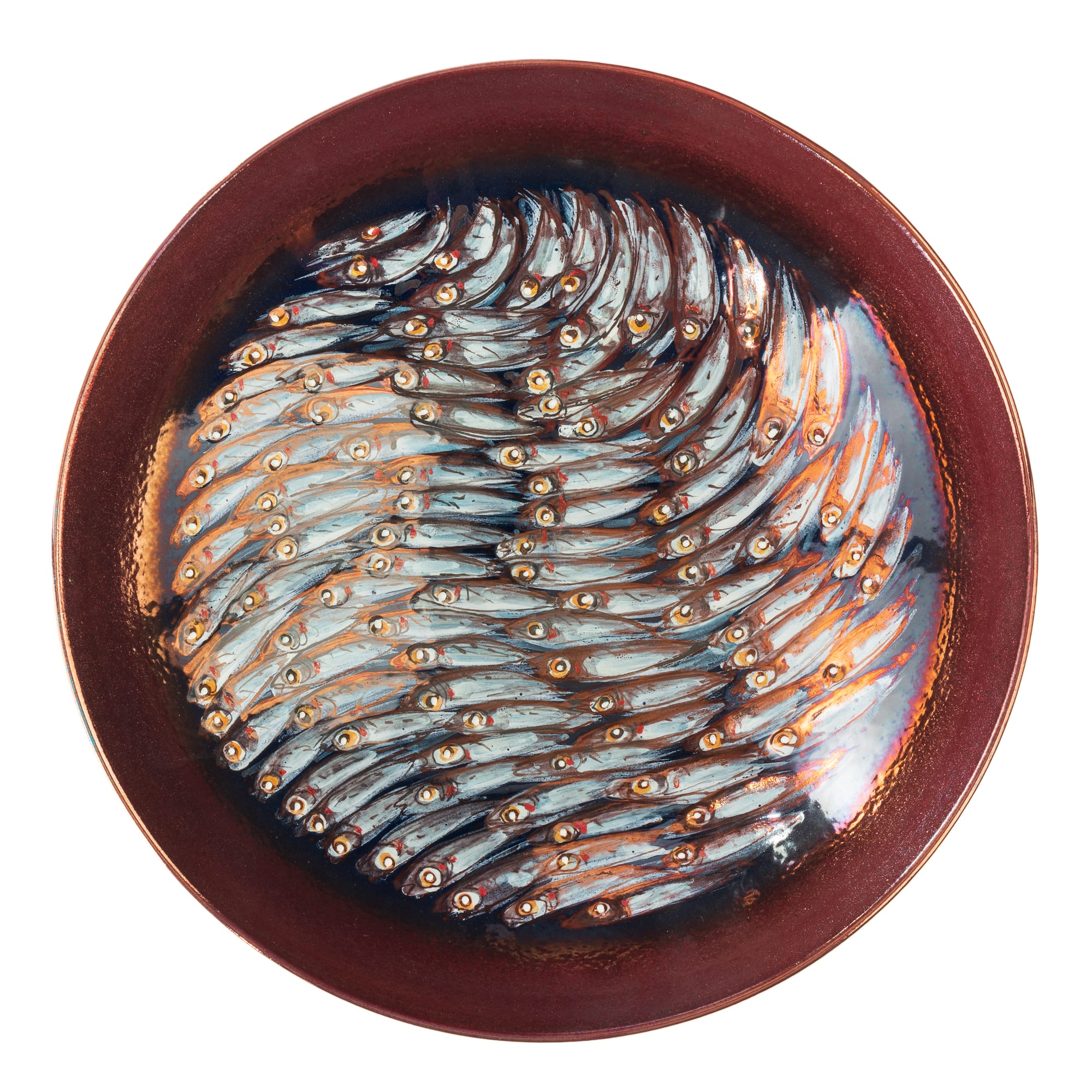 "Vignoli 13"" Anchovies in Alignment with Copper Ring Centerpiece"