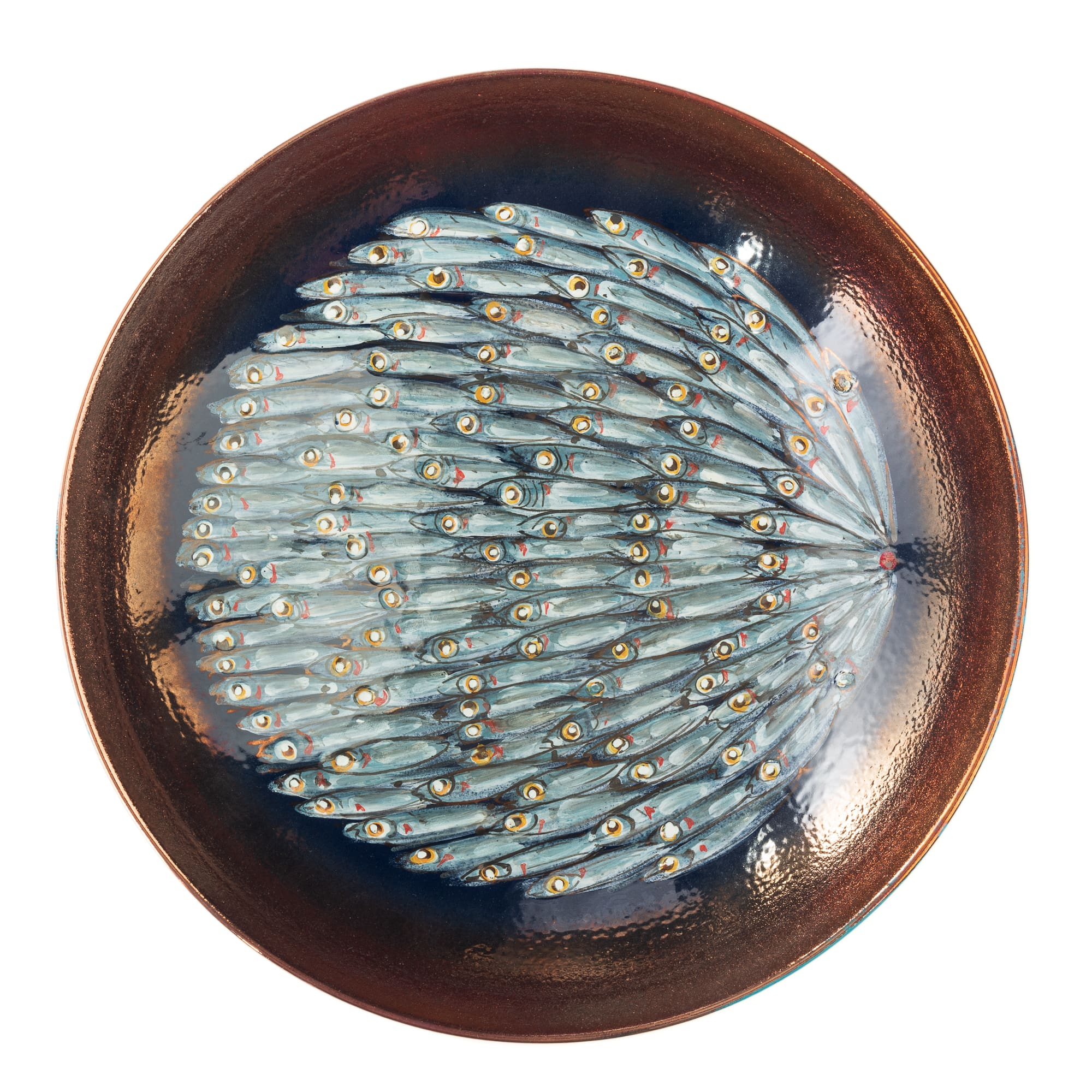 "Vignoli 13"" School of Anchovies with Copper Ring Centerpiece"