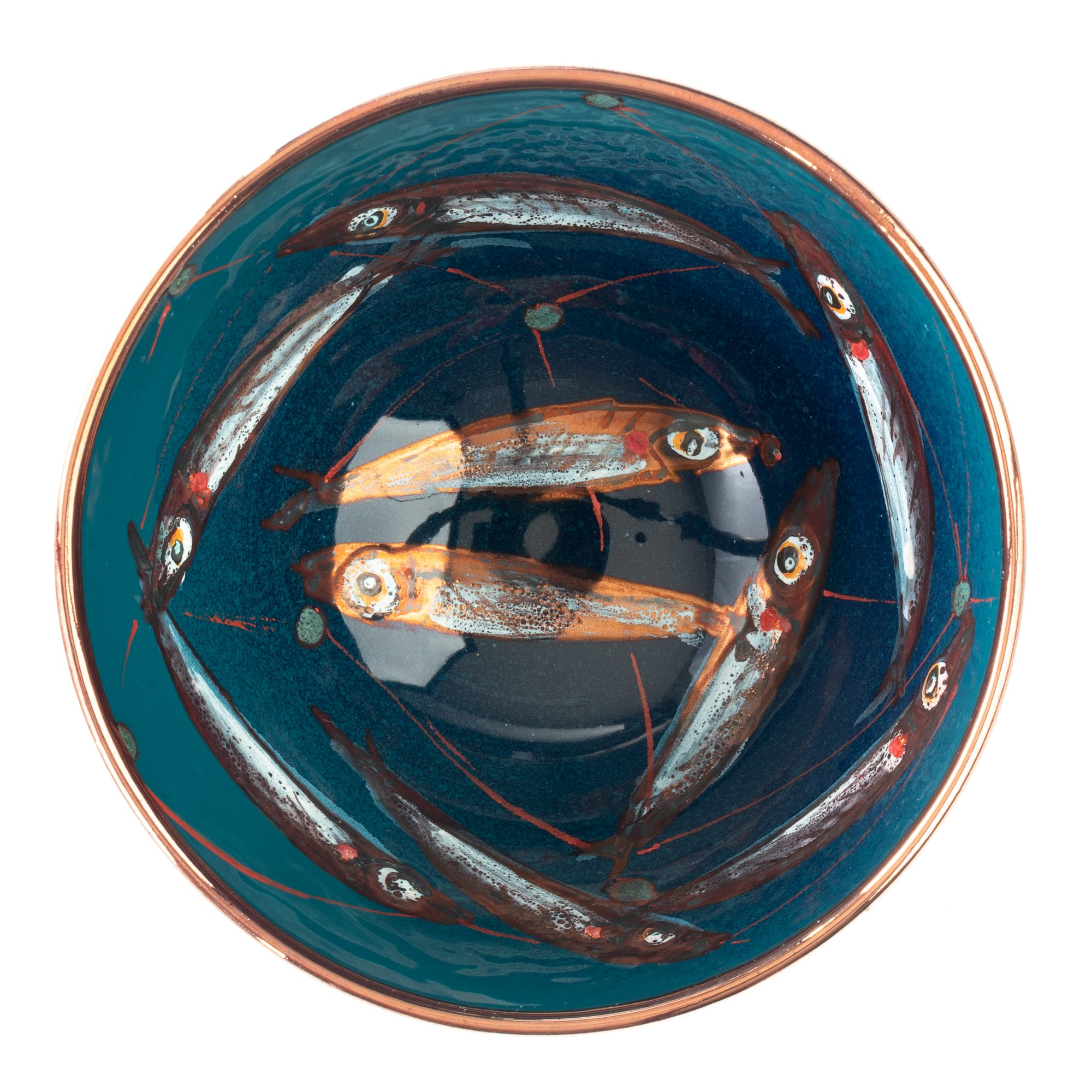 Vignoli Small Bowl with Painted Fish Design 25