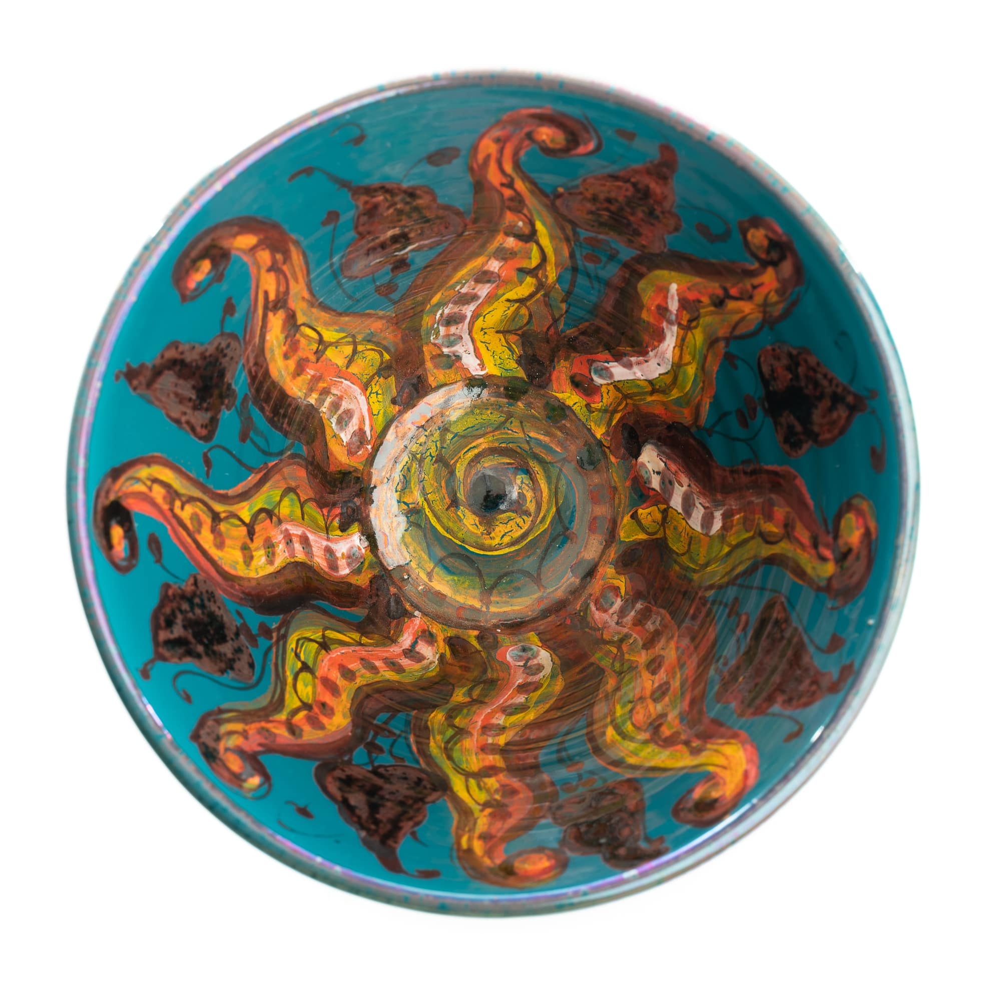 Vignoli Small Conical Bowl Turquoise Octopus
