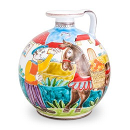 Man with Horse Vase with Handle