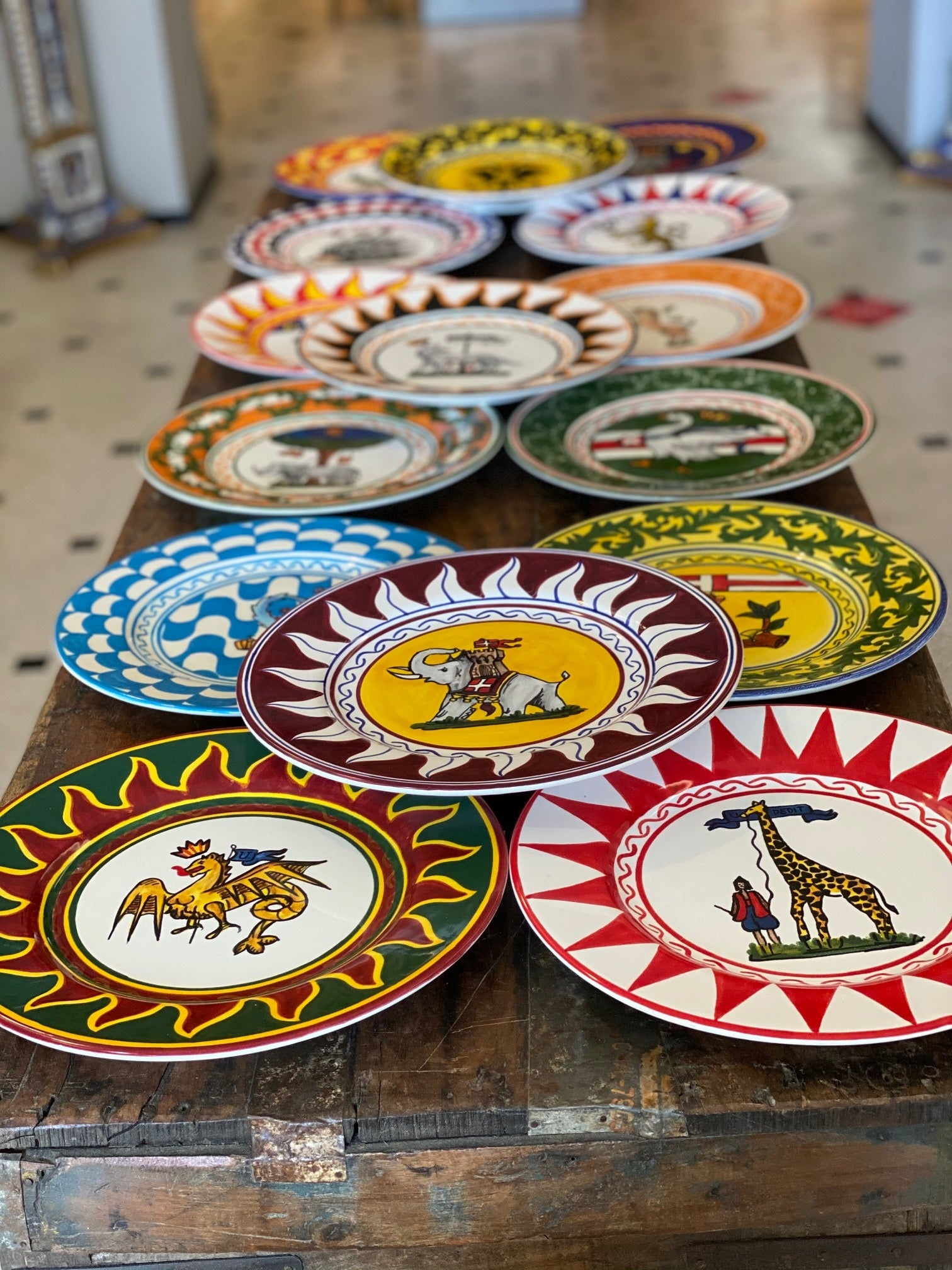 Contrade Set of 17 Dinner Plates From Siena