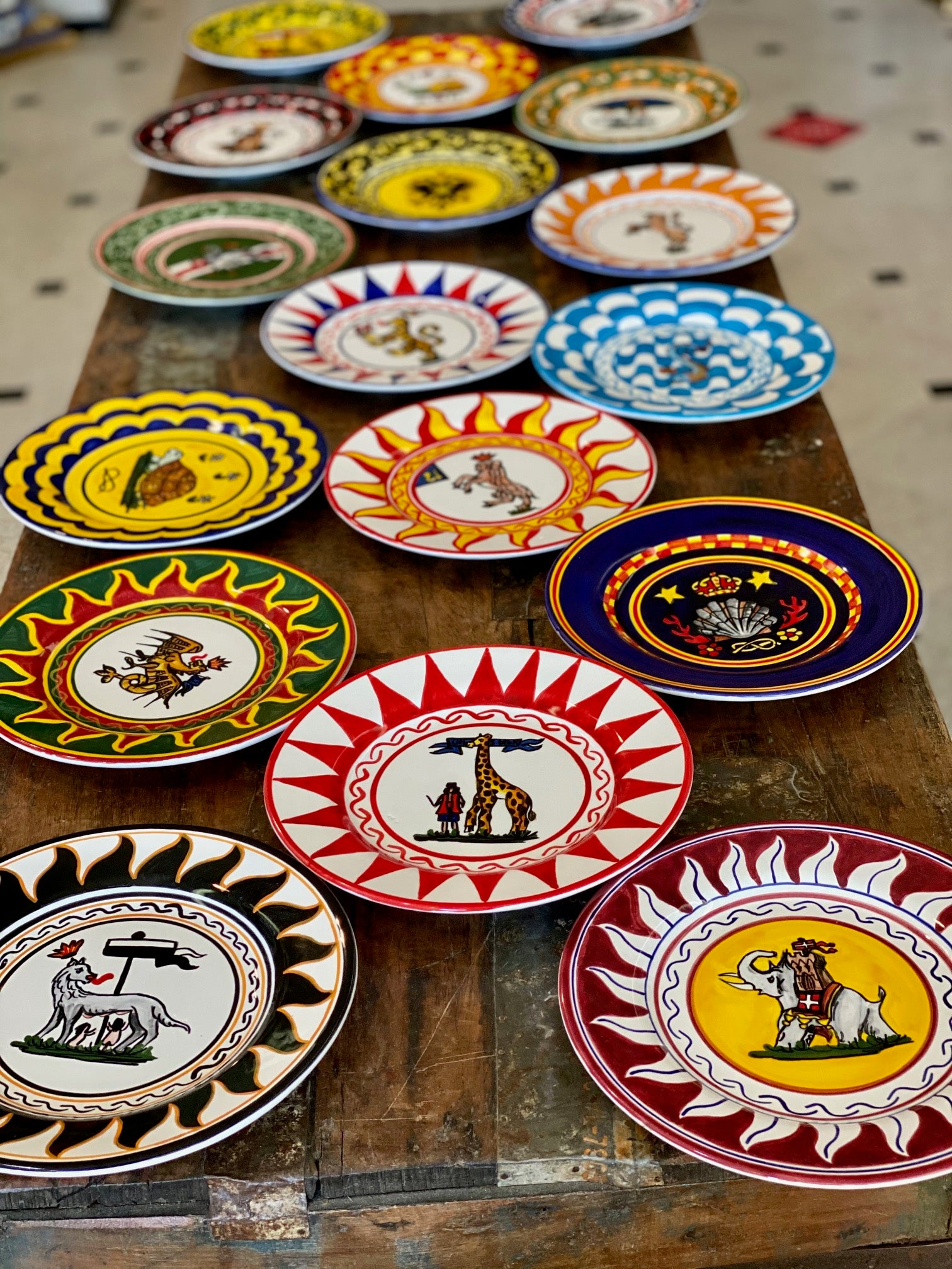 Contrade Set of 17 Salad Plates From Siena