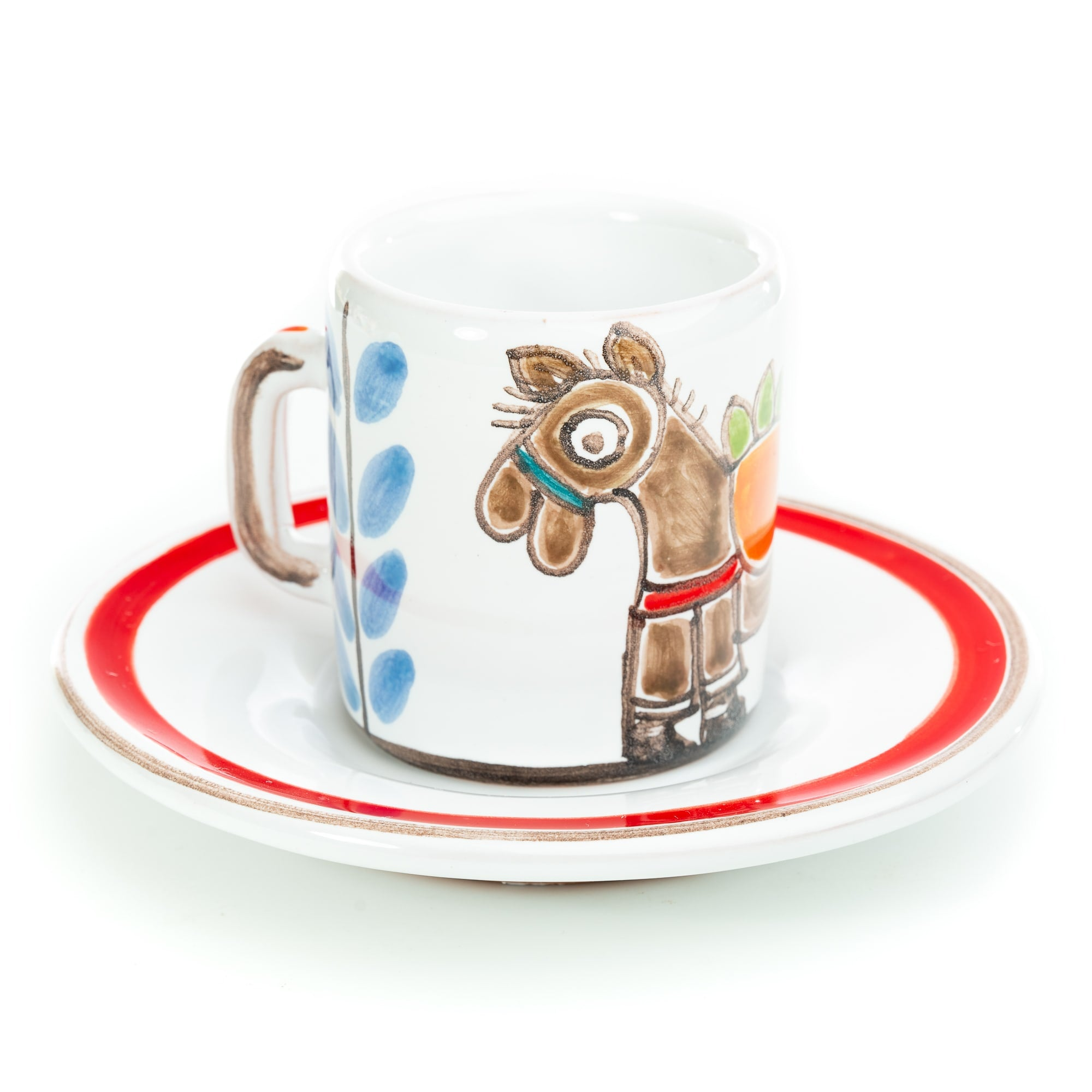 Folk Horse Espresso Cup and Saucer