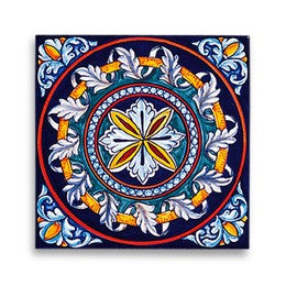 Collectible Majolica Tile, Pattern D