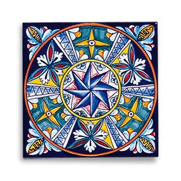 Collectible Majolica Tile, Pattern F