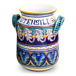 Collectible Majolica Utensili Holder with Handles