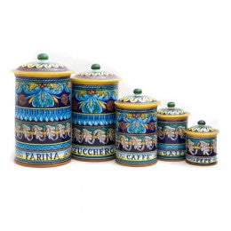 Collectible Majolica Canister Set, Pattern C