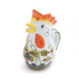 Blue Carnation Rooster Pitcher, Large