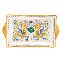 Raffaellesco Rectangular Tray Small, Biordi, Italian pottery, deruta