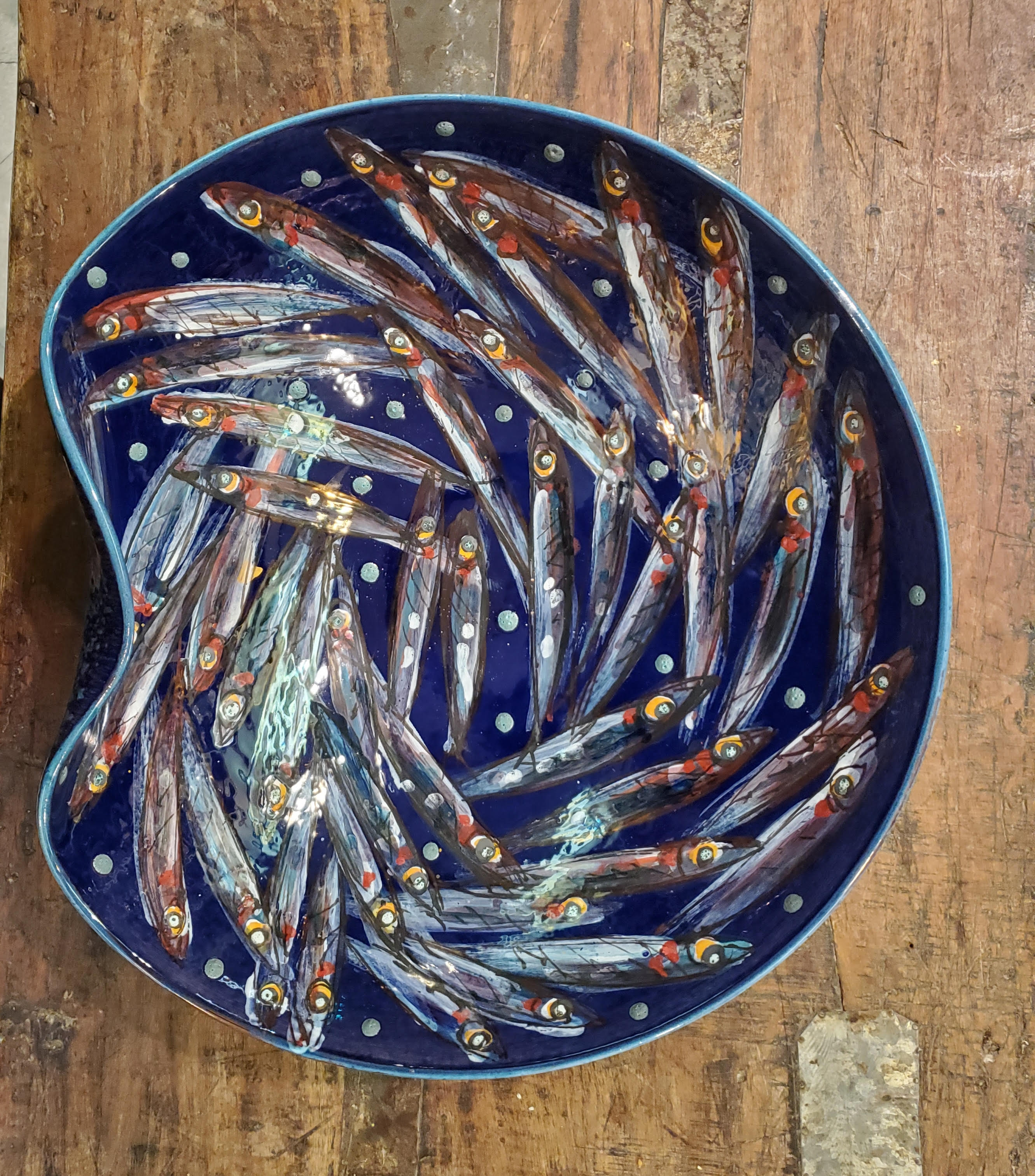 "Vignoli 16"" Anchovies Wave in Chaos Centerpiece Bowl"